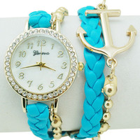 Turquoise Anchor Bracelet Watch from P.S. I Love You More Boutique