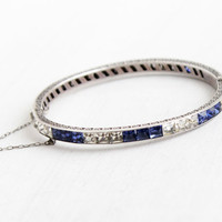 Antique Art Deco Sterling Silver Antique Sapphire Blue & White Rhinestone Bracelet - 1920s Flower Design Channel Set Stone Bangle Jewelry