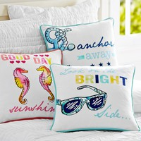Coastal Phrases Pillow Cover