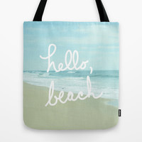 Hello, Beach Tote Bag by Avenue L Designs | Society6