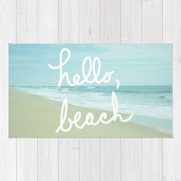 Hello, Beach Area & Throw Rug by Avenue L Designs | Society6