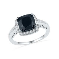 7.0mm Cushion-Cut Faceted Onyx and Diamond Accent Engagement Ring in Sterling Silver - View All Rings - Zales