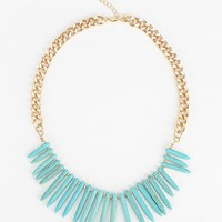 Turquoise Spikes Necklace - Urban Outfitters
