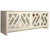Pieces - Fretwork & Chrome Credenza - 1stdibs