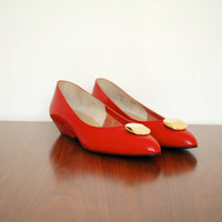red leather heels - 80s vintage leather gold button wedge flats - pointed toe - bruno magli - size 6