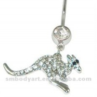 Source Fashion crystal kangaroo belly button ring body piercing jewelry 7028 on m.alibaba.com