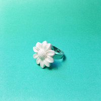 "Handmade ""Festival Sunflower"" White Sunflower Adjustable Ring Neon Summer coachella"