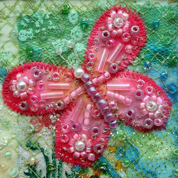 Beaded butterfly - fabric art card - patchwork card - handmade card - Mothers day card - pink butterfly