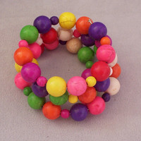 Memory Wire Colorful Beaded Bracelet Fun to wear Jewelry