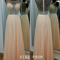 Custom Made Beaded Peach Prom Dress,Open Back Prom Dress,Beaded Bodice Prom Dress,Peach Evening Dress,Chiffon Prom Dress