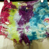 Twazzy Little Bird Rainbow Tie Dyed Shorts / Cut Offs by twazzy