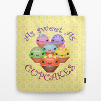 Sweet Kawaii Cupcakes  Tote Bag by Cool Cat Creative