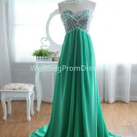 Green Beadings Chiffon Prom Dress, Beadings Prom Dress, Green Prom Dress,Prom 2014, Long Prom Dress