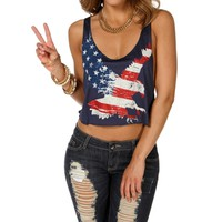 Blue/Multi Eagle Crop Tank