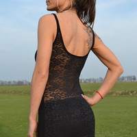 Sexy Lace Tank in Black with Open back