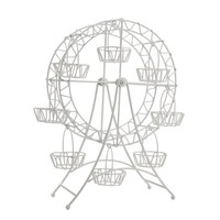 WHITE METAL FERRIS WHEEL CUPCAKE HOLDER