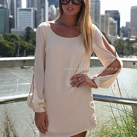 BILLOWING 2.0 DRESS , DRESSES, TOPS, BOTTOMS, JACKETS & JUMPERS, ACCESSORIES, 50% OFF SALE, PRE ORDER, NEW ARRIVALS, PLAYSUIT, COLOUR, GIFT VOUCHER,,White,CUT OUT,SHIFT,LONG SLEEVES,MINI Australia, Queensland, Brisbane