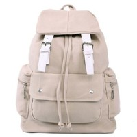 Buckles Drawstring Backpack Rucksack School Travel Shoulder Bag