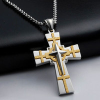 CREMATION JEWELRY NECKLACE CROSS Silver Crucifix Memorial Funeral Pendant A04