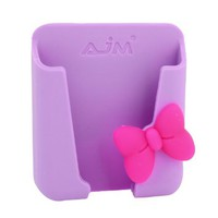 Purple Silicone Bowknot Detail Mobile Phone Card Holder for Auto Car