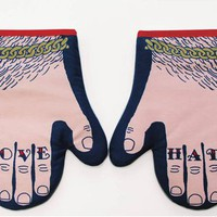 Love & Hate Oven Gloves Pair