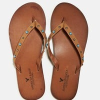 's Studded Leather Flip Flop (Cognac)