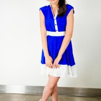 Blue and White Silk Dress