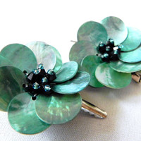 Mother of Pearl Aqua Floral Style Hair Clips Now On Sale
