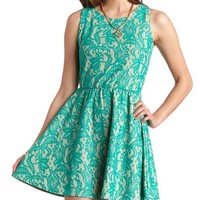BONDED LACE SKATER DRESS