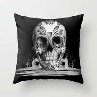 Pulled sugar, day of the dead skull Throw Pillow by Kristy Patterson Design