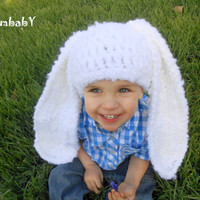 Baby Easter Hats Toddler Hat Photo Props Fluffy White Bunny Rabbit Easter Clothes Flop Eared Bunny Hat