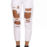 White Boyfriend Ripped Jeans