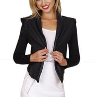 Black Blazer Style Leather Jacket with Asymmetrical Hem