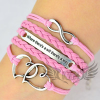 "Heart to heart,Where there is a will, there is a way"",infinity bracelet in silver.Pink wax cord and pink braided leather.Best friend gift"