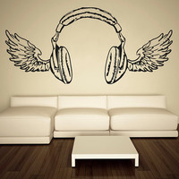 Wall Decal Vinyl Sticker Decals Art Decor Design HeadPhones Wings Electro Music Live Band Rock Star Pattern Mans Gift Bedroom Dorm (r486)