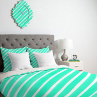 Rebecca Allen Pretty In Stripes Turquoise Duvet Cover