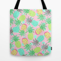 Pineapple Pandemonium Tropical Spring Tote Bag by Lisa Argyropoulos | Society6