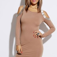 Mocha Bejeweled Cut Out Shoulder Mini Dress