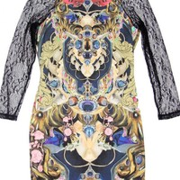 Multicolor Lace Long Sleeves Dress w/ Gothic Graphic