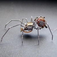 Spider Sculpture No 49 Recycled Watch Parts Clockwork Arachnid Figurine Stems Electrical Wire Arthropod A Mechanical Mind Gershenson