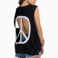 Peace Out Muscle Tee $40