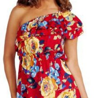 Loose Fitted One Shoulder Floral Printed Design Summer Mini Dress