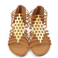 Crixus Valley Tan Strappy Sandals
