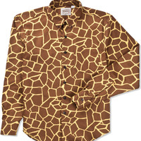 Naked & Famous Brown Giraffe Print Shirt