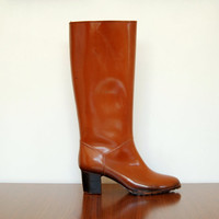 cognac brown boots - 70s vintage rubber high heel rain boots - weathered leather look knee high - size 8