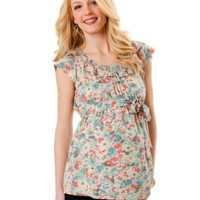 Motherhood Maternity: Short Sleeve Ruffled Maternity Blouse