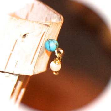 Turquoise and Mother of Pearl Tragus/Lobe/Cartilage Stud, 14k Gold Filled, Cartilage Stud, Tiny Gold Nose Ring, Tiny Nose Ring, Nose Jewelry