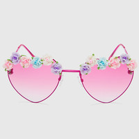 Heart Floral Sunglasses - Pink
