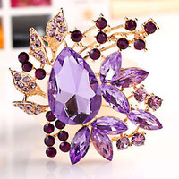Pugster Vintage Style gold Oval Drop Pin Brooches Purple Wedding Crystal Pendant