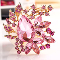 Pugster Vintage Style Gold Oval Drop Pin Brooches Pink Wedding Crystal Pendant